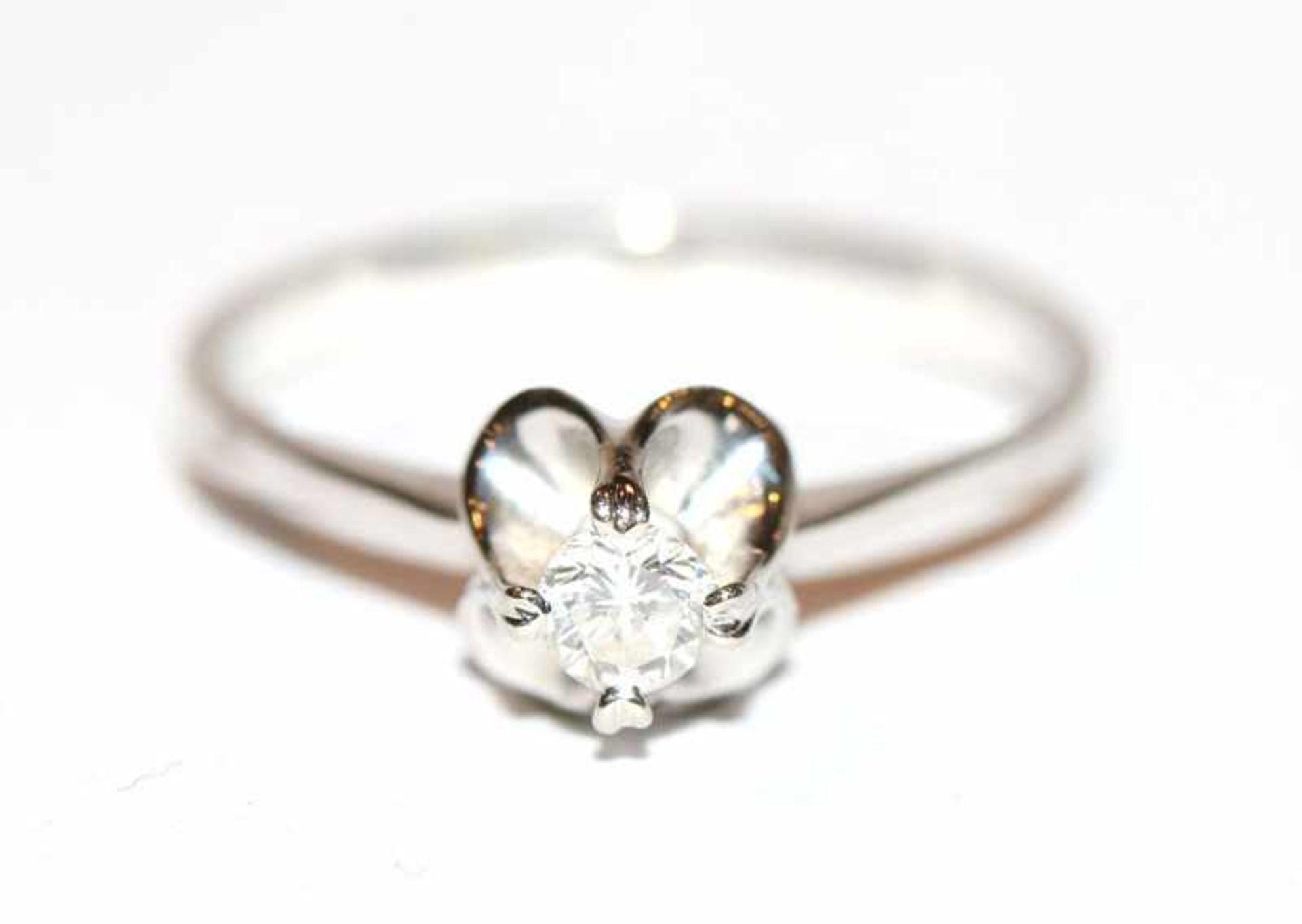 14 k Weißgold Ring mit Diamant, ca. 0,15 ct., Gr. 54