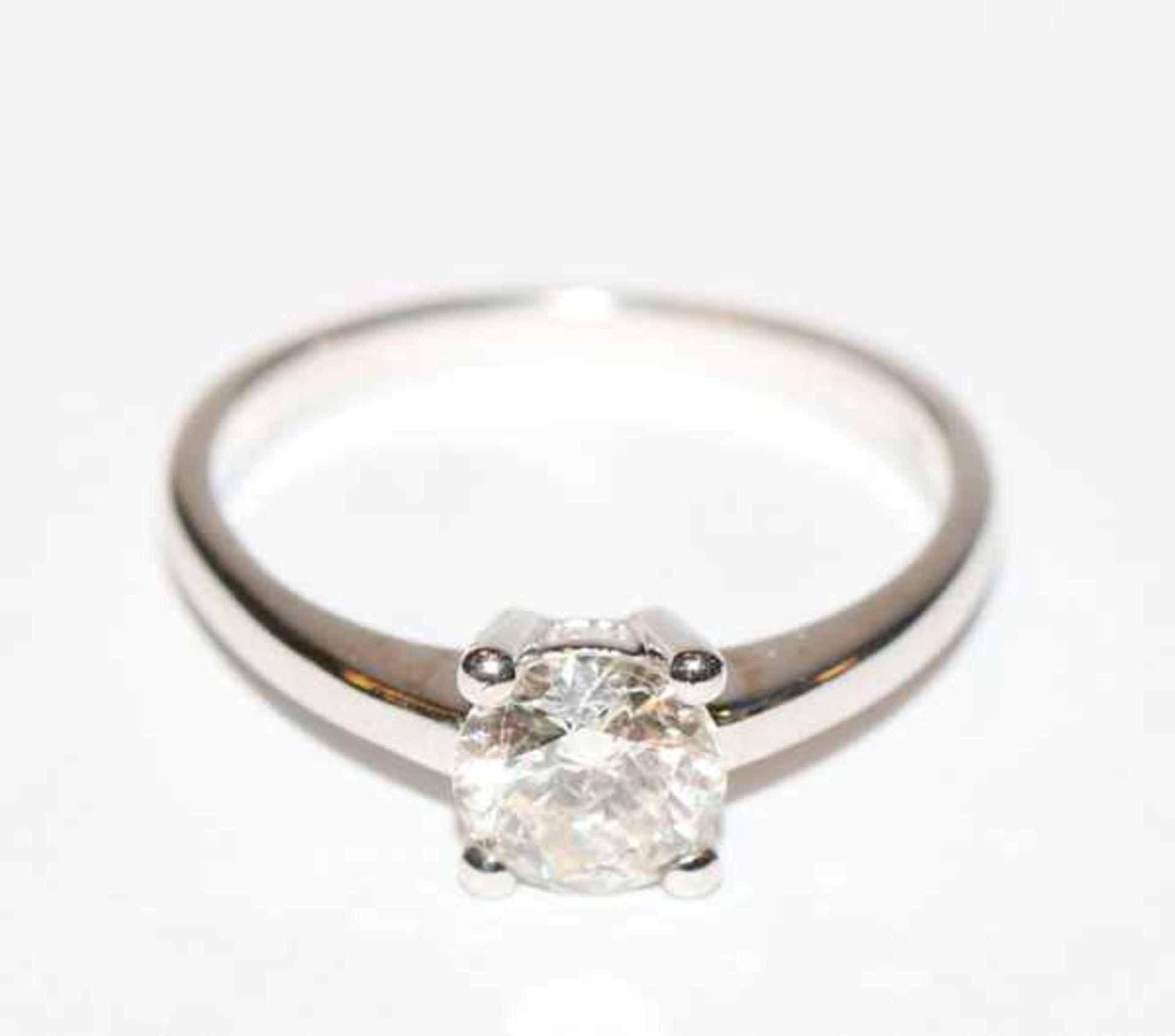 14 k Weißgold Diamantring, ca. 1,1 ct. Diamant in Brillantschlid, klassische Handarbeit, Gr. 57