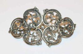 Haarbrosche, 800 Silber, Reliefdekor, H 4,5 cm, B 8 cm