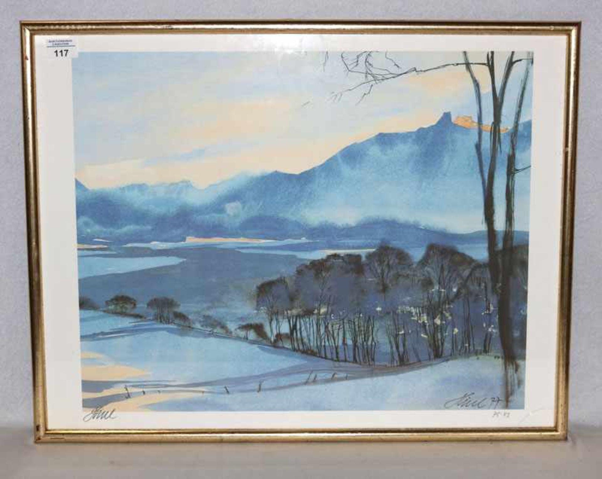 Lithographie 'Murnauer Moor im Winter', signiert Hierl, Fritz, * 1920 + 2005 Murnau, datiert 77, Nr.