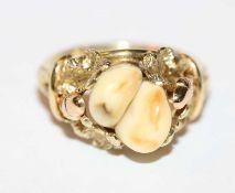 Paar Silber Creolen, D 1,2 cm und passender Ring, Gr. 56, beides mit rosefarbenen Glassteinen