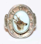 Silber Ring mit Porzellaneinlage und Bildnis eines Rehbocks, schöne Handarbeit, Gr. 54