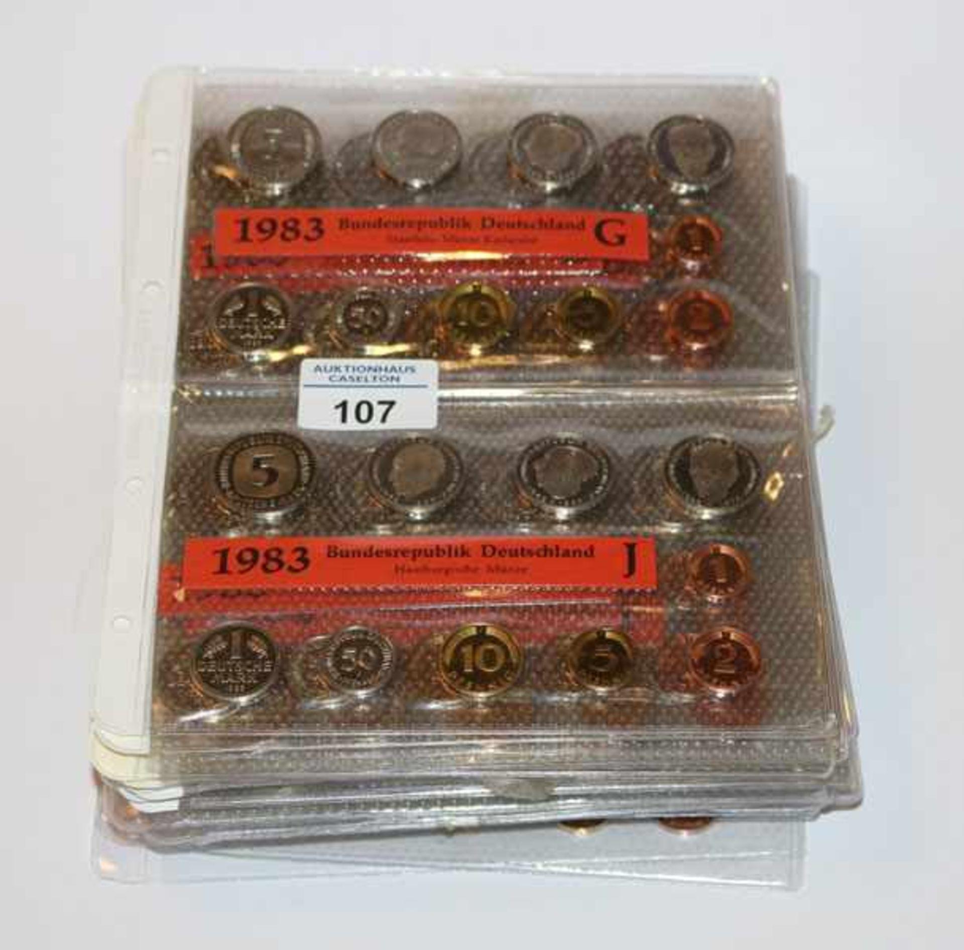 Kursmünzensätze der BRD von 1983 bis 1994, (1986 F und G fehlen), 634,-- DM Nominalwert