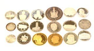 Konvolut von diversen Silbermedaillen, teils vergoldet, ca. 340 gr. Feinsilber