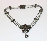 Silber Collierkette, 3-reihig, L 39 cm