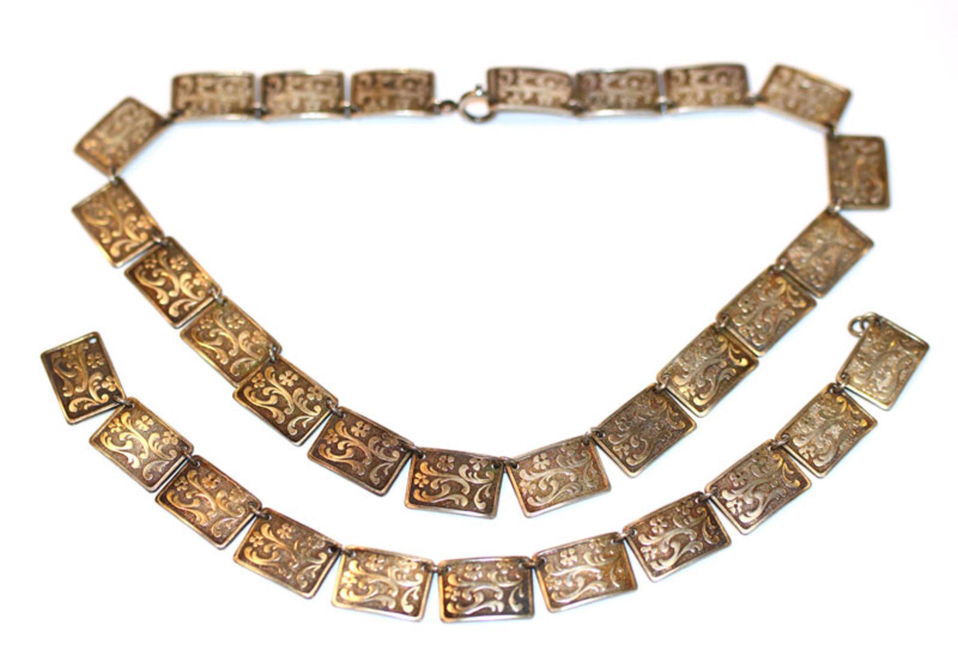 Collierkette, L 32 cm und passendes Armband, L 19 cm, 835 Silber, zus. 57 gr.