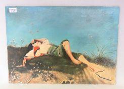 Gemälde ÖL/Hartfaser 'Der Hirtenknabe', Kopie nach Franz von Lenbach,signiert Vogt, ohne Rahmen 44