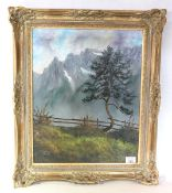 Gemälde ÖL/LW ''Dreitorspitze', gerahmt, incl. Rahmen 64 cm x 53 cm