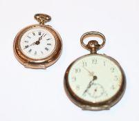 Silber Damen-Taschenuhr, D 3,5 cm und Doublé Damen Taschenuhr, D 3 cm, nicht intakt, Tragespuren