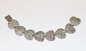 Silber Armband, filigrane Handarbeit in Blattform, L 18 cm