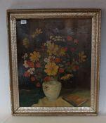 Gemälde ÖL/Malkarton 'Blumen in Vase', signiert Gg. Schönberger, gerahmt, Rahmen bestossen, incl.