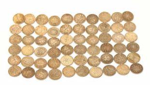 60 x 1 Reichsmark, Silber, diverse Erhaltungsgrade