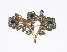 Antike Gold/Silber Brosche in Blumenform mit Fensterdiamanten und blauen Farbsteinen, 19.