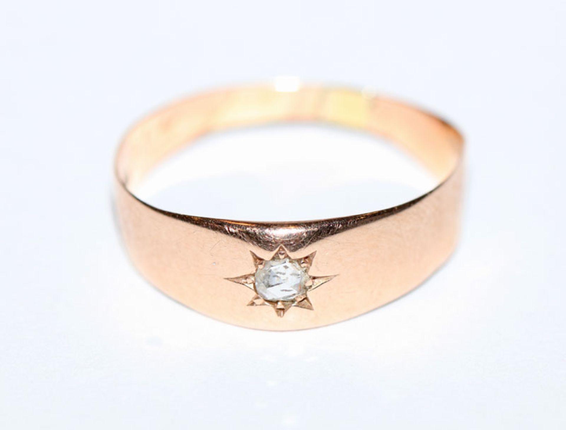 14 k Roségold Ring mit Diamant, Gr. 58