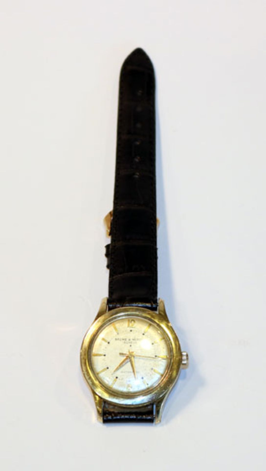 Baume & Mercier Genéve Automatic Herren Armbanduhr, Doublé Gehäuse, um 1960, an schwarzem Armband,