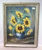 Gemälde ÖL/Hartfaser 'Sonnenblumen in Vase', R. Wimmer, gerahmt, Rahmen fleckig und berieben,