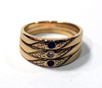 14 k Gelbgold Ring mit Diamant, Safir und Rubin, 6,4 gr., Gr. 51