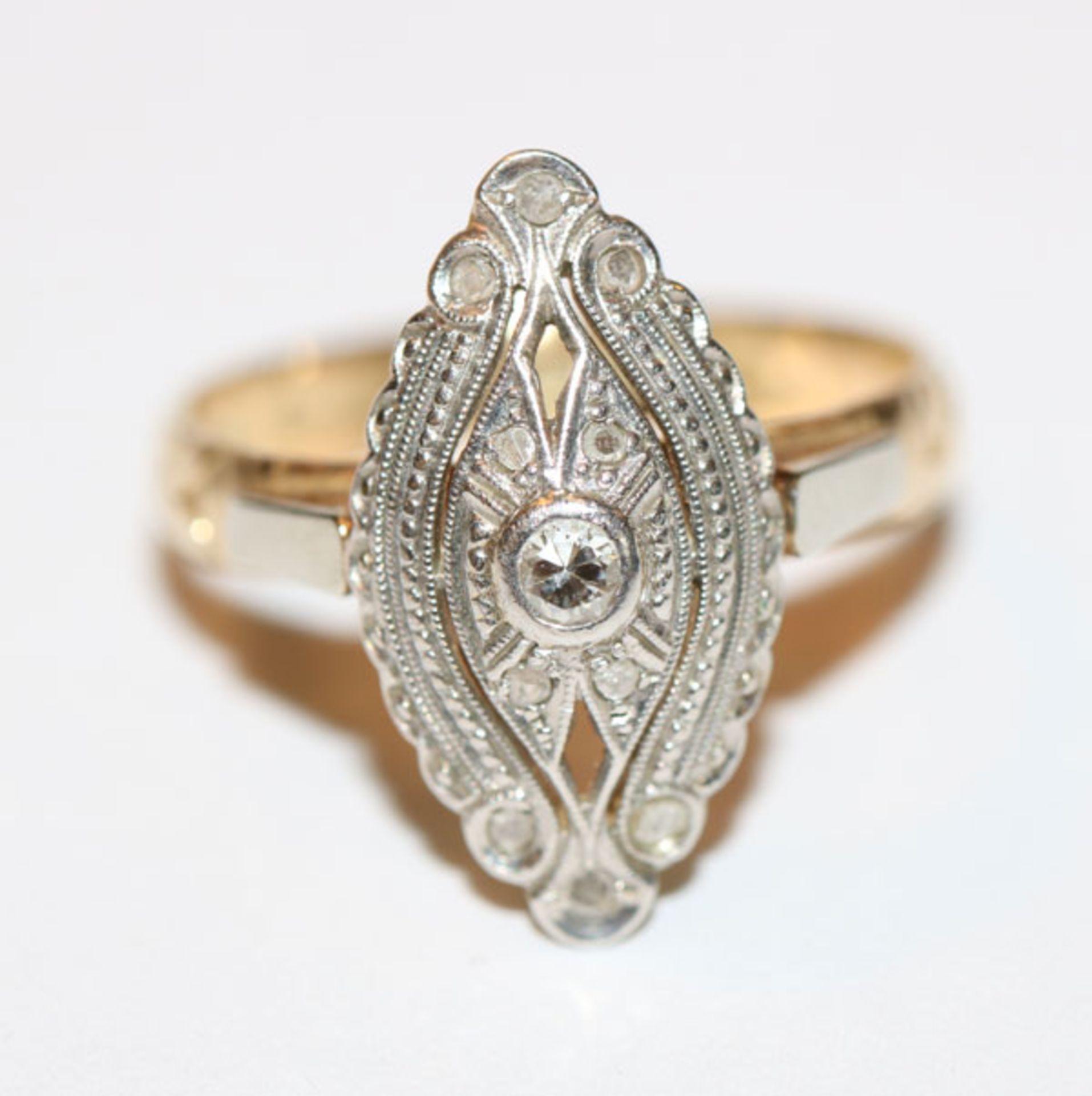 14 k Gelb- und Weißgold Ring mit Diamanten, schöne Handarbeit, Gr. 55