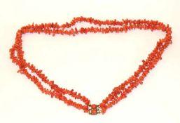 Korallenwurzel-Kette, 2-reihig mit Doubléschließe, L 58 cm
