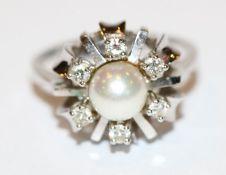 14 k Weißgold Ring mit Perle und 6 Diamanten, Gr. 52, 4,6 gr., klassische Handarbeit