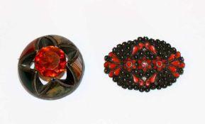 2 dekorative Silber Broschen, D 3,8 cm/B 4,5 cm