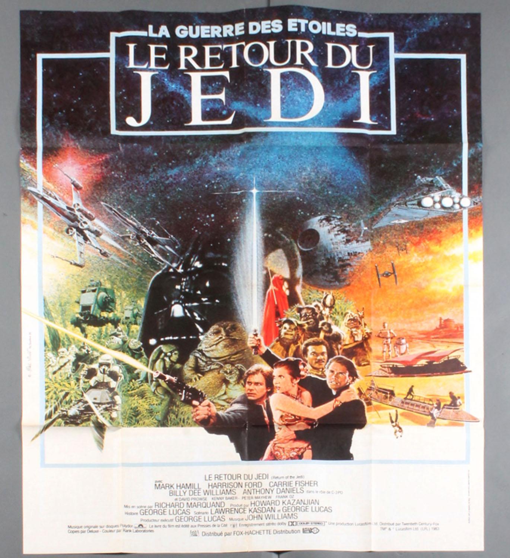 "A 1983 French Star Wars ""Le Retour Du Jedi"" large scale movie poster"