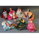 A collection of costume and other dolls including Royal miniature figures and Peggy Nisbet dolls