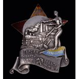 *Soviet Union, Ukraine, January Uprising in Kiev, 1918, badge in unmarked silver and enamels, of