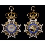 *Germany, Saxony, Order of St Henry, Knight's badge, 1807-15, in gold and enamels, width 35.5mm,