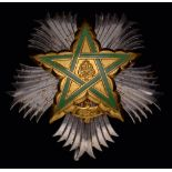 Morocco, Wissam al-Arch (Order of the Throne), First class breast star, in silver, with gilt and
