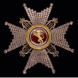 *Norway, Order of St Olaf, breast star, type 1, in pierced jewel-cut silver with gilt cyphers and