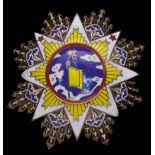 *China, Order of the Cloud and Banner, Second Class set of insignia, in silver-gilt and enamels,