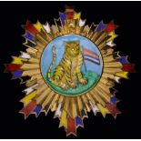 *China, Order of the Striped Tiger, Nationalist Issue, First / Second Class set of insignia, in