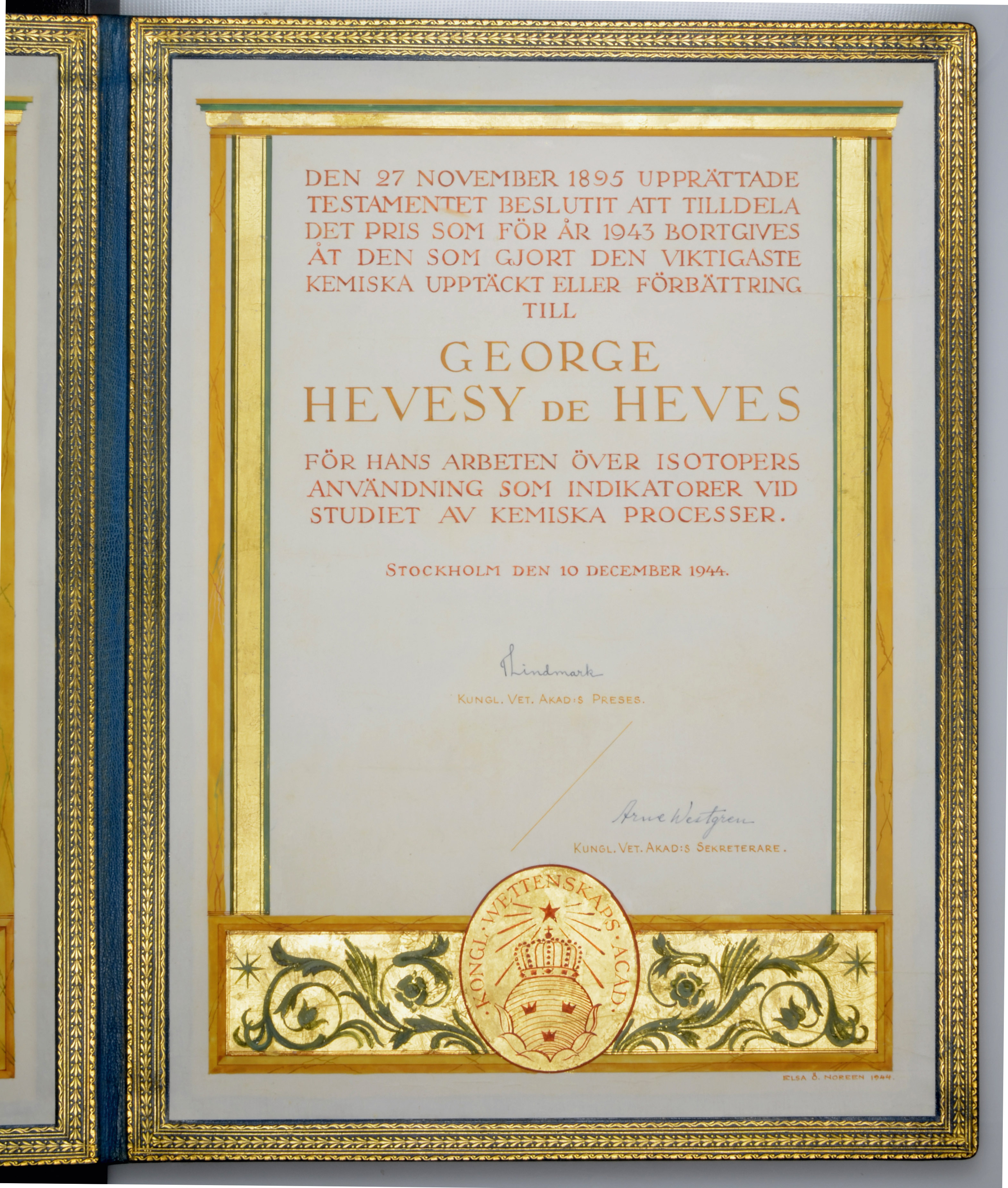 The Nobel Prize in Chemistry and three further medals awarded to George de Hevesy (1885-1966), - Image 15 of 17