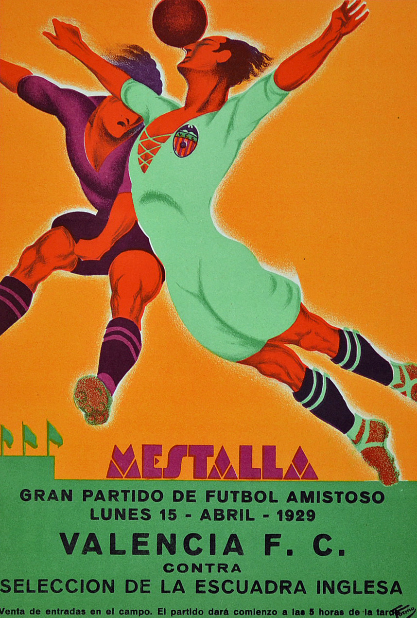 Very Rare 1929 Valencia CF v England Select Advertising Poster/Flyer played at Mestalla Stadium,