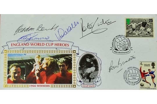 1966 World Cup Signed First Day Cover commemorating 30th Anniversary with signatures from the top