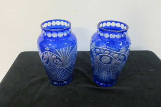 A Pair Of Cobalt Blue Cut Glass Vases Of Circular Tapering Form The