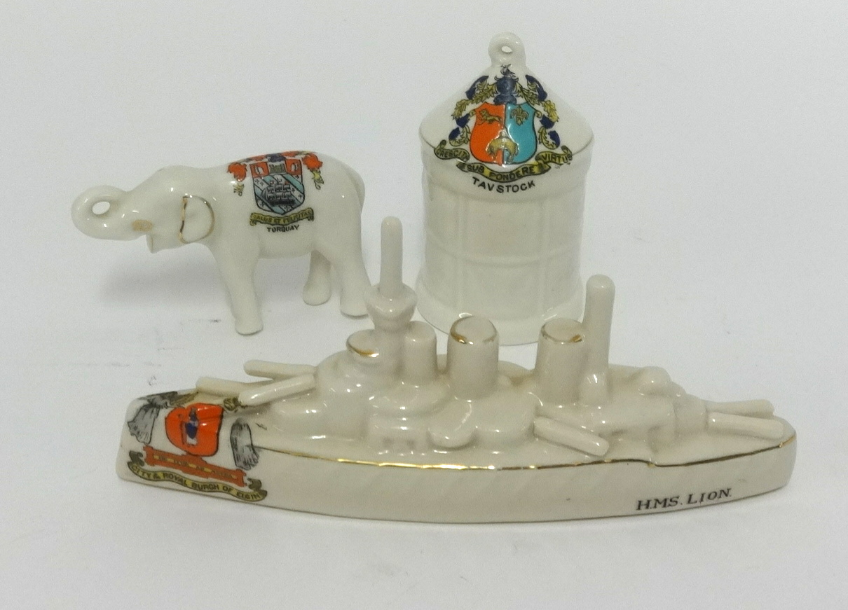Lot 015 - Crested ware, Carlton HMS Lion frigate and two other crested pieces (3).