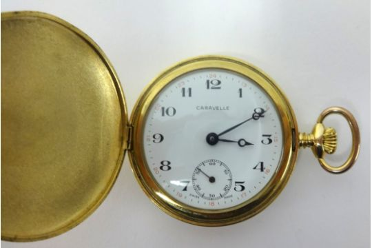 Caravelle A Gold Plated Full Hunter Keyless Pocket Watch Made By Bulova Pany