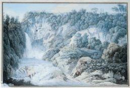 Filippo Giuntotardi (Rom 1768 - 1831 ebenda) 'Vue de la Grotte de Neptune a Tivoli', 19. Jahrhundert