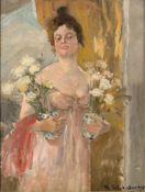 Martin Schönberger (1864 - ?) 'Dame mit weißen Rosen im Nachtgewand', 20. Jahrhundert Öl auf Holz.