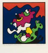 Otmar Alt (Wernigerode 1940) 'Der fliegende Gummifrosch', 1967 Farbige Serigraphie auf Bütten von