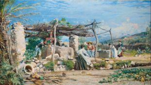 Hermann Nestel (Stuttgart 1858 - 1905 Bordighera/Ligurien) 'Am Brunnen' (Genreszene in Ligurien/