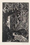 Erich Heckel (Döbeln 1883 - 1970 Radolfzell) 'Der Sturzbach', 1956 Holzschnitt auf Velin. 36,7 x