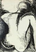 Max Weiler (Absam 1910 - 2001 Wien) Ohne Titel (Rückenakt), 1950 Graphit auf chamoisfarbenem Papier.