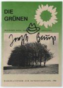 Joseph Beuys (Krefeld 1921-1986 Düsseldorf) 'Hutzeichnung' auf dem Cover 'Die Grünen - Wahlplattform