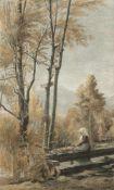 August Rieper (Hamburg 1865 - 1940 München) 'Hirtin an der Quelle', 1900-1905 Mischtechnik mit