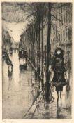 Lesser Ury (Birnbaum, Posen 1861 - 1921 Berlin) 'Straße im Regen', erstes Viertel 20. Jahrhundert