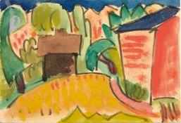 Karl Schmidt-Rottluff (Rottluff 1884 - 1976 Berlin) Künstlerpostkarte 'Landschaft mit Häusern', 1921