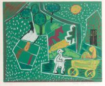 Ida Kerkovius (Riga 1879 - 1970 Stuttgart 'Grün mit Pferdchen', 1963 Farbige Serigrafie auf